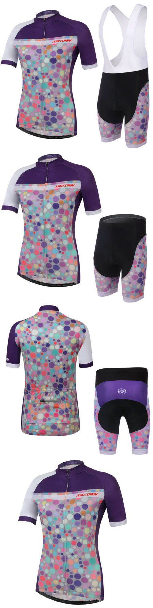 Jersey and Pant Short Sets 177852: Womens Cycling Jersey + (Bib) Shorts Set Color Dots Mtb Clothing Cycling Kit BUY IT NOW ONLY: $31.99