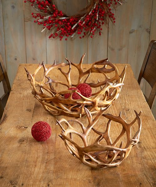 Faux Antler Bowls Antler Bowls: Faux Antler bowls set includes one small and one large bowl.