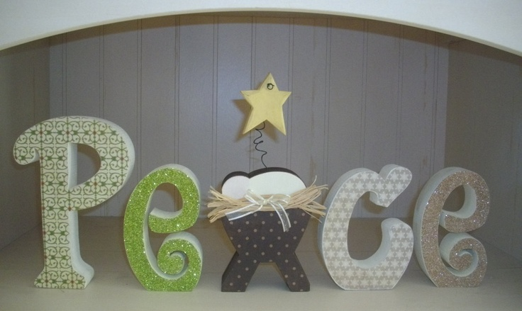 Christmas wood letters peace wood decoration blocks mantle for Baby jesus christmas decoration
