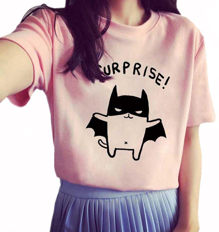 Летучая мышь женская мода Лето Футболки Одежда Рубашки О-Образным Вырезом Бэтмен мультфильм Печатных топ Бесплатная Доставка