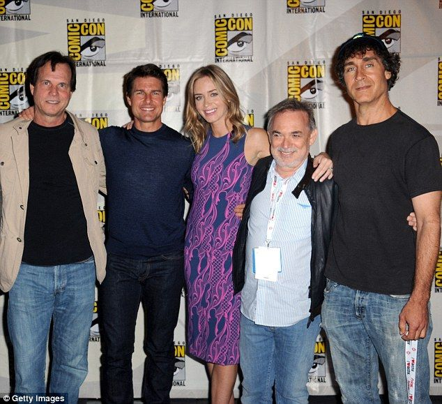 Director Doug Liman (far right) worked with Paxton (far left) in the film Edge of Tomorrow and said the actor was worried about his upcoming surgery in an email