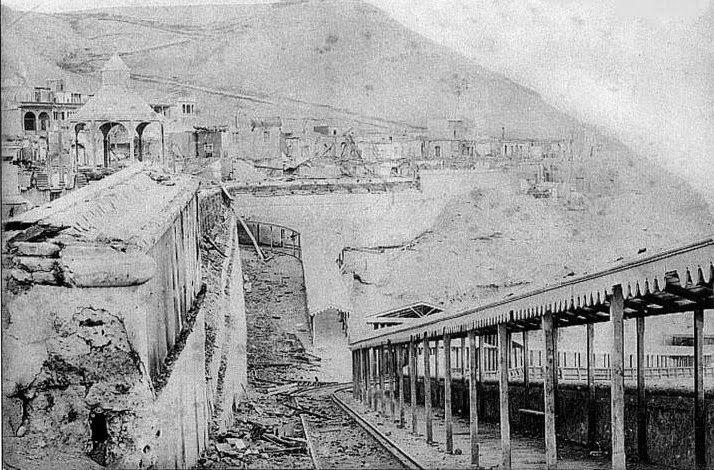 Chorrillos destruido después del bombardeo del ejército chileno (1881)