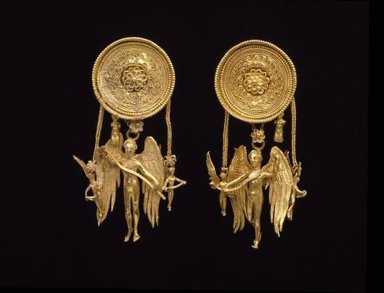 Eros earrings, made in Greece, late 4th century BC. Source: Ethnic Jewelry and Adornment.