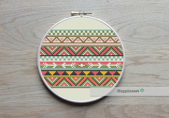 This cross stitch borders is inspired from Aztec designs. This borders is 55 stitches high. Use the borders to decorate your sewing projects or