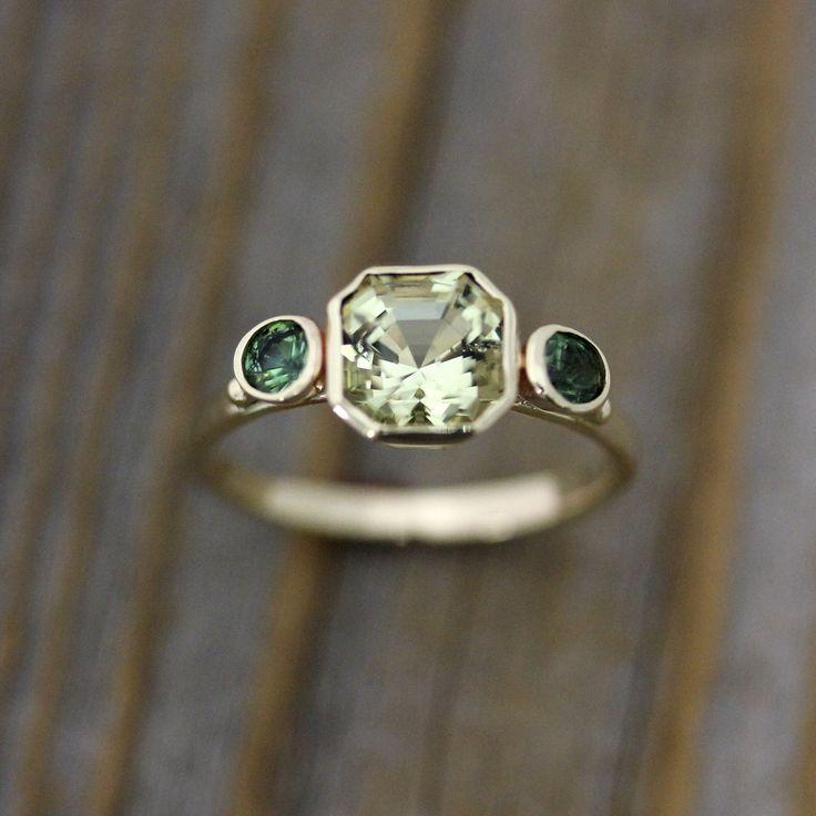 Asscher Cut Beryl and Green Tourmaline Ring