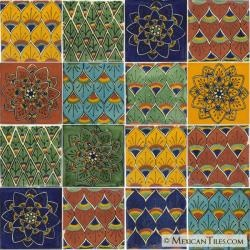 Peacock Mexican Tile Set - 16 Talavera Tiles