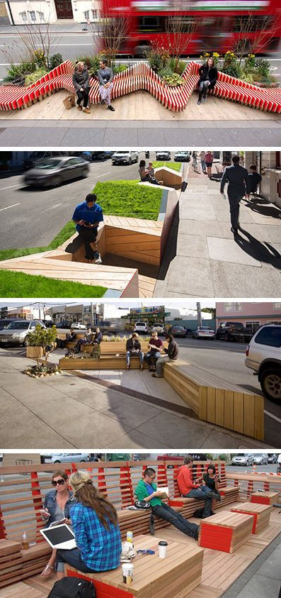The parklet idea has been reclaiming parking spaces and turning them into people…
