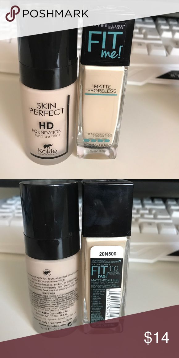 Foundation set Kokie skin perfect had foundation (super smooth formula, I just need a darker shade) and maybelline matte and poreless in porcelain. Both have been swatched only Makeup Foundation