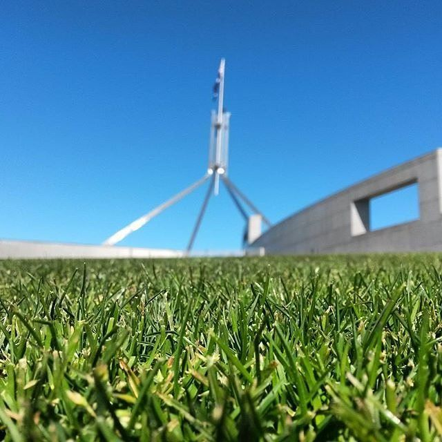 """Instagrammer @followmeeast took this fantastic photo on a """"cheeky trip to Australia's capital. Thanks for turning on the weather Canberra!"""" Did you know Parliament House welcomes about 1 million visitors from Australia and overseas each year, making it one of Canberra's most popular attractions? #visitcanberra #seeaustralia"""
