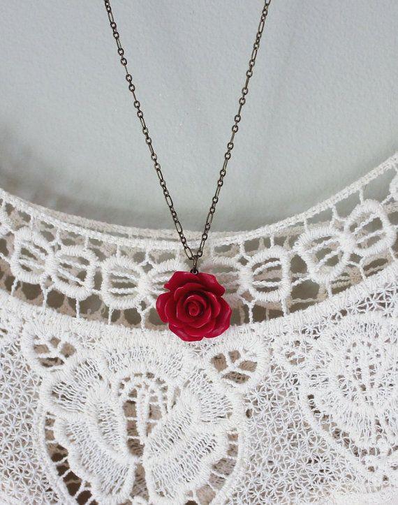 Red Rose Necklace Flower Pendant Resin Floral by apocketofposies