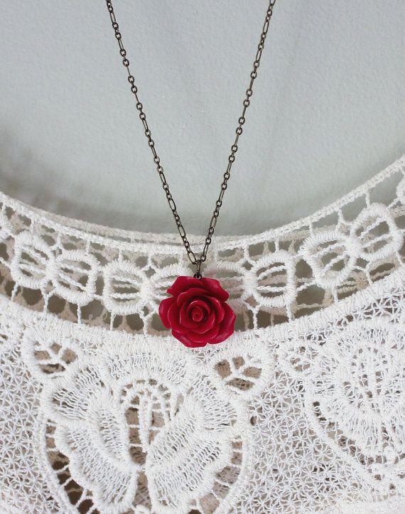 Collana rosa rossa fiore rosso ciondolo resina Gioielli