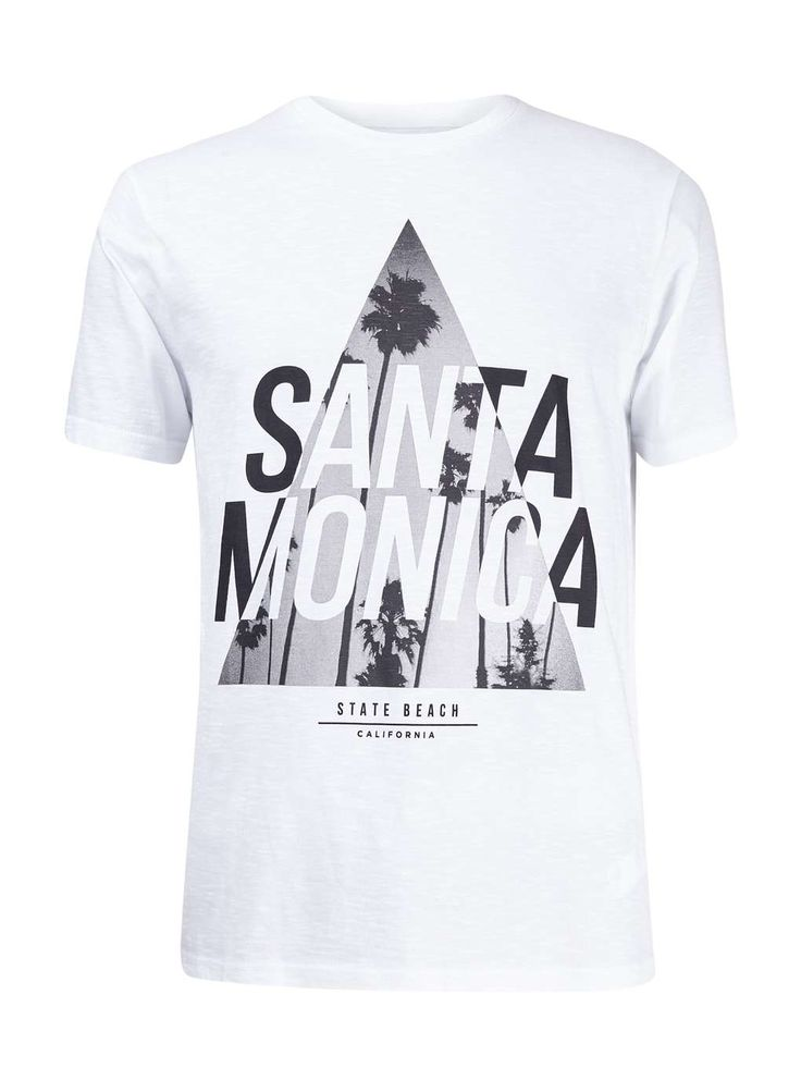 White Santa Monica Triangle Print T-Shirt - Mens T-Shirts & Vests - Clothing - Burton Menswear