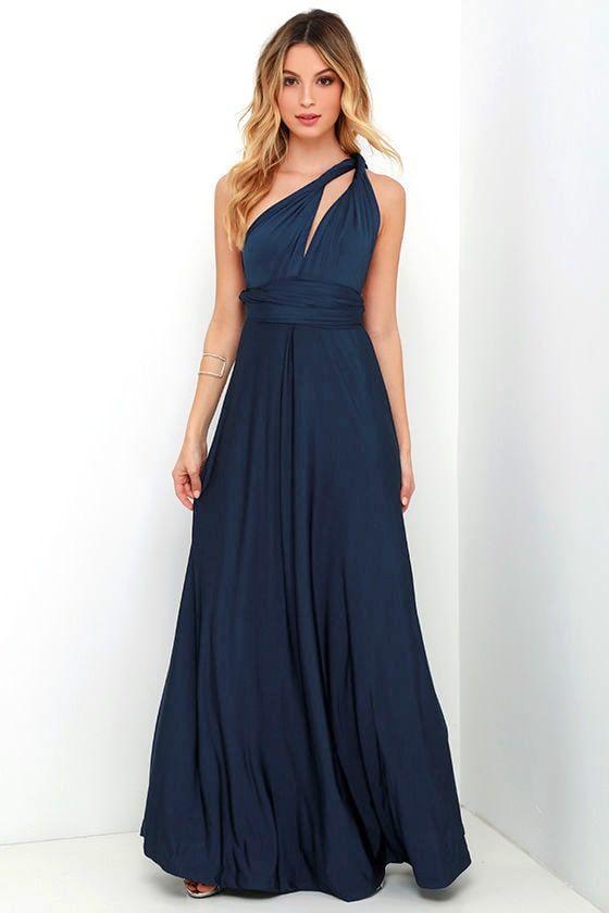 Always Stunning Convertible Navy Blue Maxi Dress 8