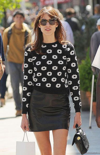 Love this Alexa Chung outfit. Leather skirt, spotty jumper and Karen Walker tortoiseshell sunglasses