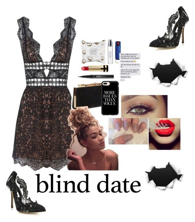 """""""Might as well...i ain't got nothing to lose: Blind Date"""" by delusional-roses ❤ liked on Polyvore featuring For Love & Lemons, Oscar de la Renta, Jimmy Choo, Casetify, Kat Von D, Gucci, Sephora Collection and Byredo"""