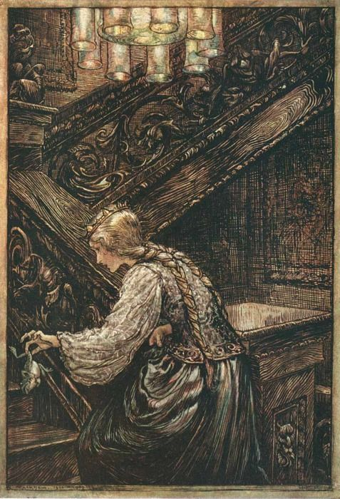 The Frog Prince illustration by Arthur Rackham.  This tale plays a big part in my book, Cloaked.