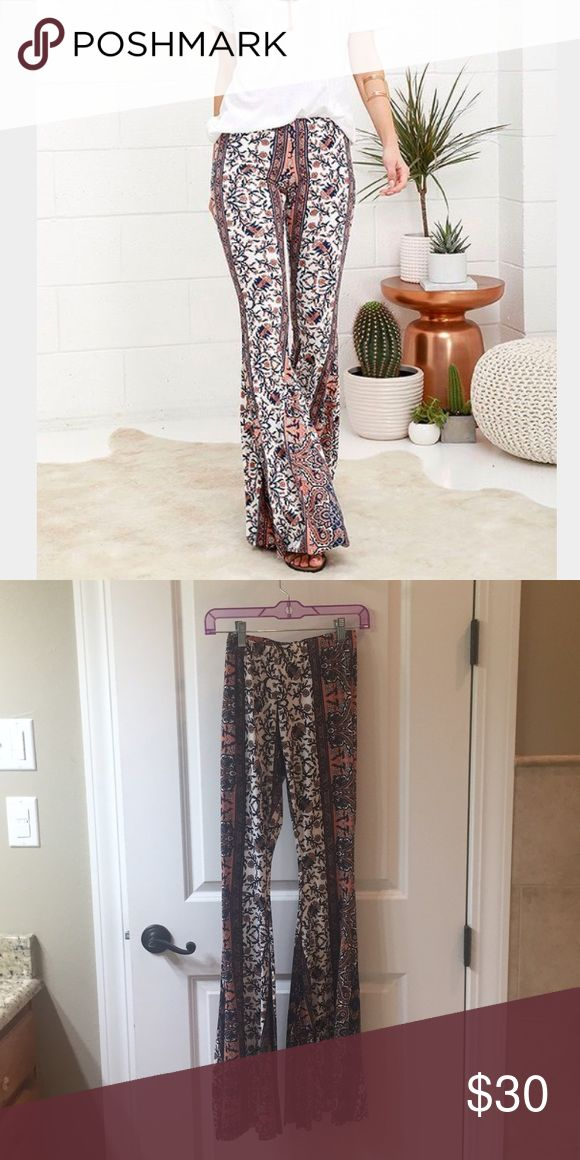 Lulu's Fashion Lounge Printed Stretch Flare pants Stretchy bell bottoms. 96% polyester, 4% spandex. Great condition! Feel free to make an offer. Lulu's Pants Boot Cut & Flare