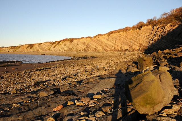 The Joggins Fossil Cliffs on the Bay of Fundy in Nova Scotia. Exposed layers of rock span 15 kilometres of coastline cliffs, revealing a complete fossil record of life in the Coal Age. The Joggins Fossil Cliffs are a UNESCO World Heritage Site.
