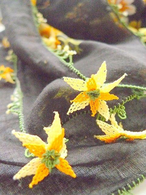 Yellow daffodils handmade needlelace