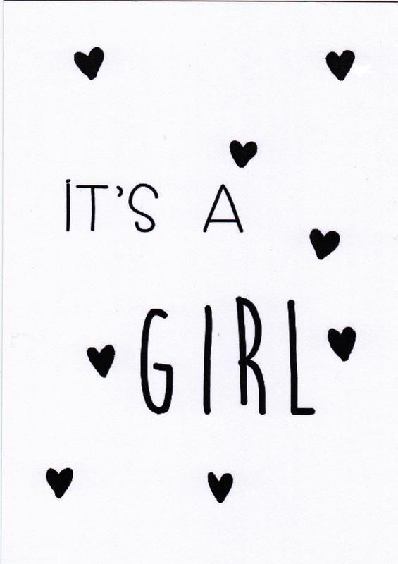 Kaart Girl, als er een meisje geboren is #itsagirl #hooraythanks