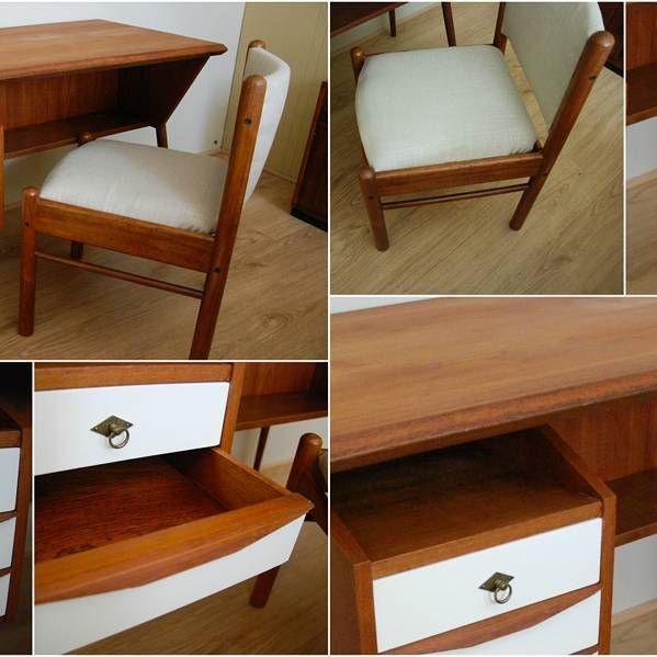 Dapper MCM Teak Desk and Chair - Sold. #mcm #teak #desk  #furniture