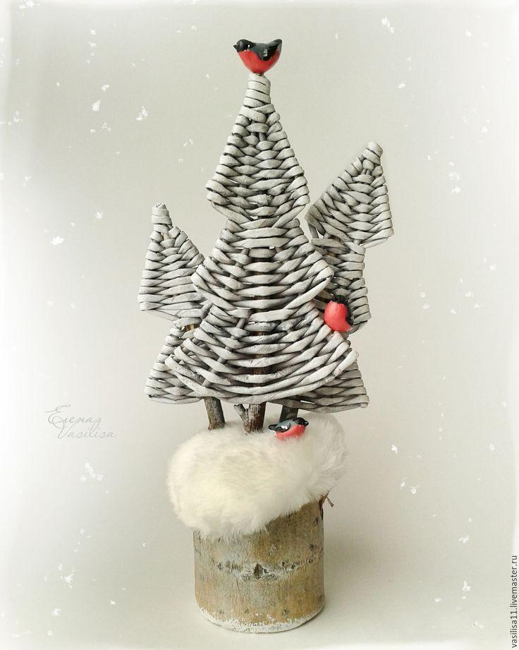 Купить 'Лесок. Снегири' Новогодняя композиция (резерв) - новогодняя елка, елочка плетеная, новогодний декор