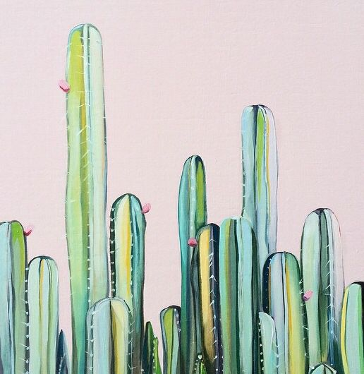 'Cactus Fields' original oil painting of cactus garden by Kate Jarman