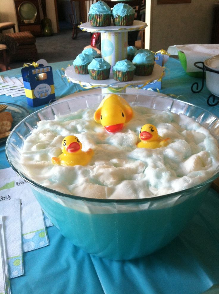 Rubber Ducky Punch for a Baby Shower Very Simple but Adorable Idea: Sprite Blue Typhoon Hawaiian Punch  Pineapple Sherbet Rubber Duckies