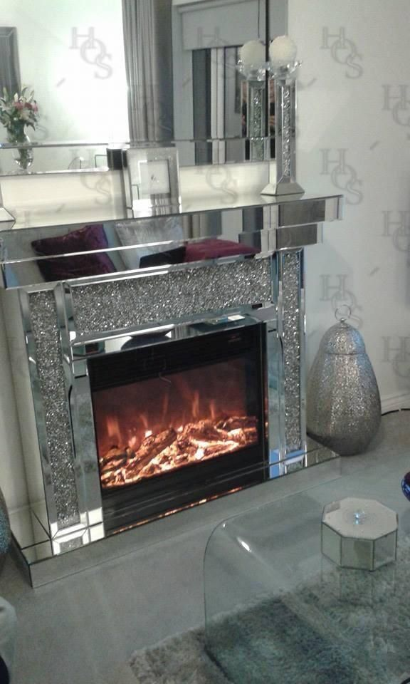 Diamond Crush Mirrored Electric Fireplace