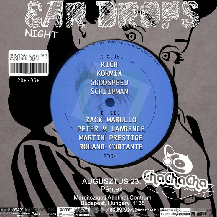 Ear Drops night ChaChaCha Cabrio (official) 2013.08.23.  Egyszer volt, hol nem volt az Óperenciás tengeren is túl, ahol a 4 lemezjátszó és dobgép is szól, megalakult az Ear Drops csapat.   A teljes cikk a www.partyweb.hu oldalon olvasható el.