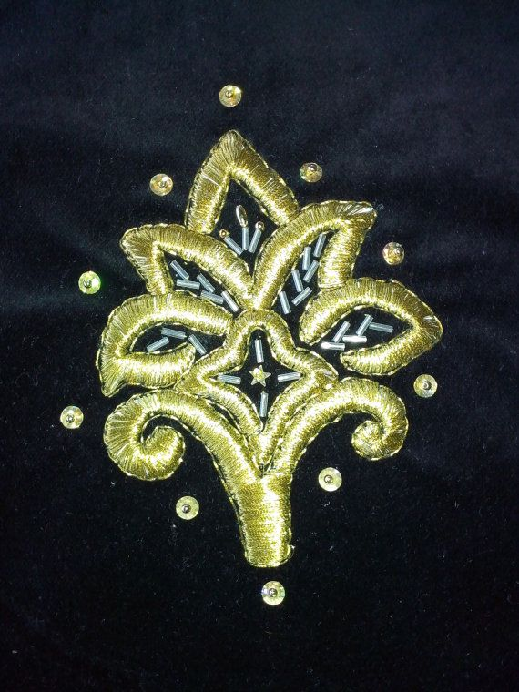 Crotian folk art, tradition handmade, Gold embroidery technique (zlatovez), unique souvenir, gold flower ornament on black  velvet