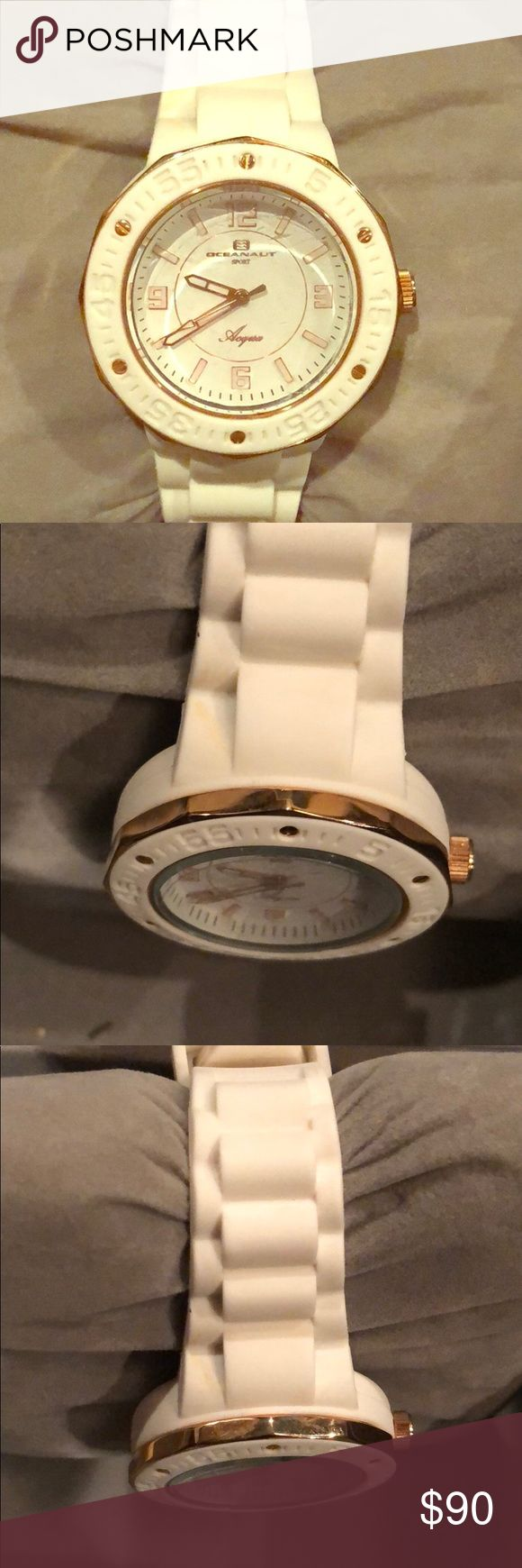 Oceanuat Women's white and gold rubber watch o/s New in box a beautiful silicone band white and gold watch.  Plastic cover on face dial.   This beautiful everyday fashionable watch will be the perfect addition to your collection ! Oceanaut Accessories Watches