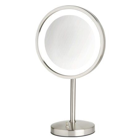 Modern Nickel Table Top Led Lighted Make Up Mirror Led Mirror