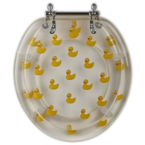 How Cute!For Aidans Bathroom:) Acrylic Yellow Ducks Toilet Seat