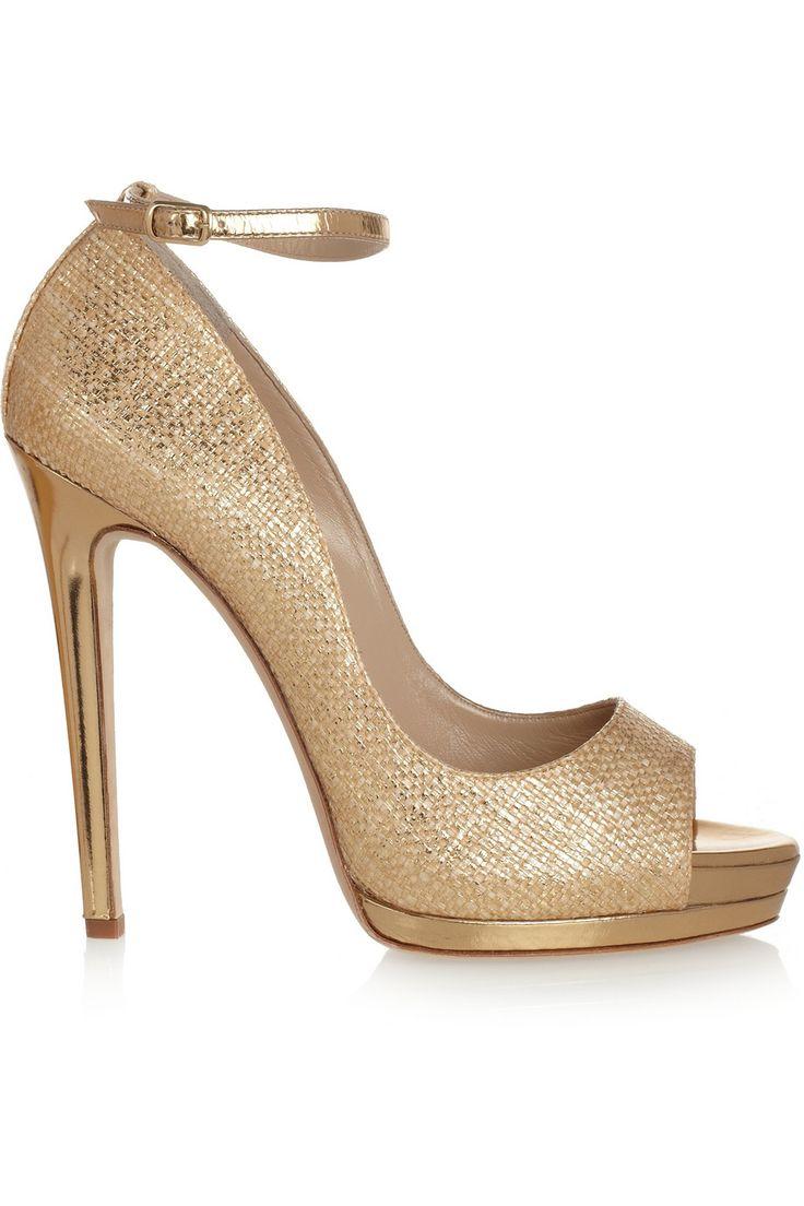 Oscar de la Renta Gold Metallic raffia-effect sandals €654 #Shoes #Heels