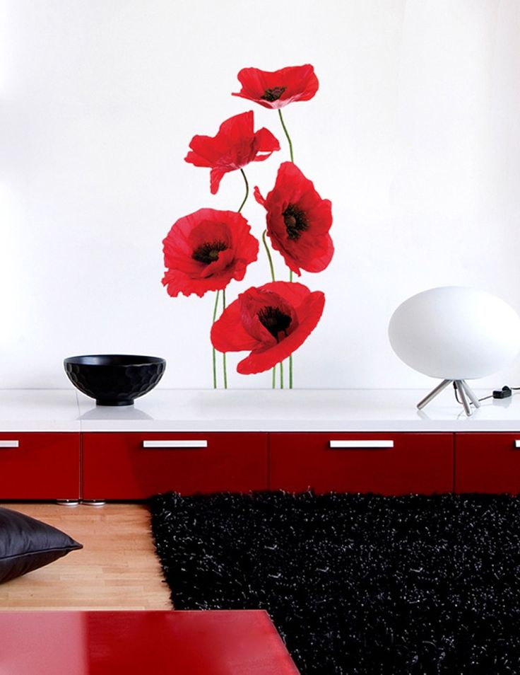 Naklejka na ścianę maki, kolorowa naklejka z kwiatami - tania i oryginalna dekoracja ścienna, która ubarwi białe ściany w salonie czy sypialni