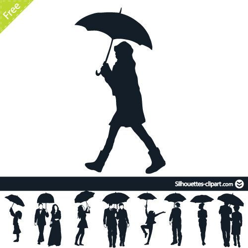 People under umbrella vector silhouettes