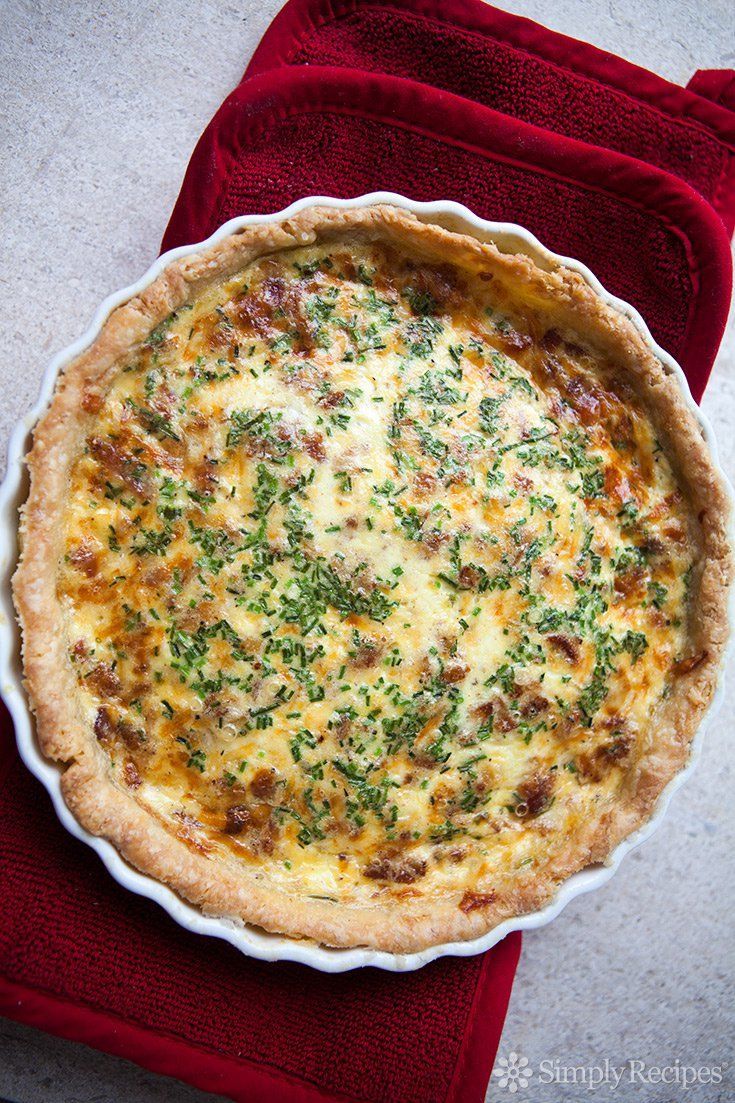 Quiche Lorraine ~ Quiche Lorraine with a buttery crust and a tender filling with our favorite food group - bacon! ~ SimplyRecipes.com