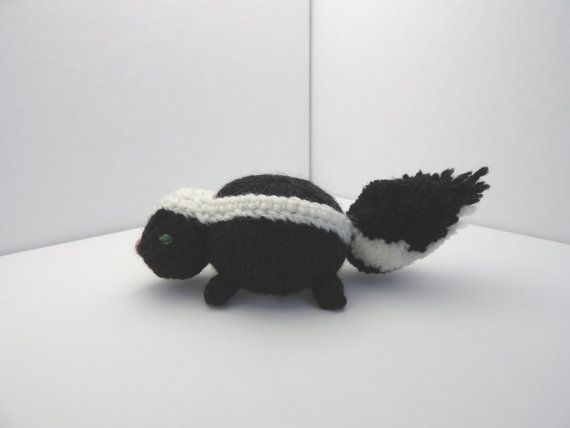 Hand knitted black and white Skunk Pin Cushion Critter, Desk Toy #OOAK