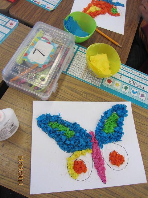 Tissue Paper Butterfly Craft http://teacherbitsandbobs.blogspot.com/2013/04/five-for-friday-plus-freebie-and.html