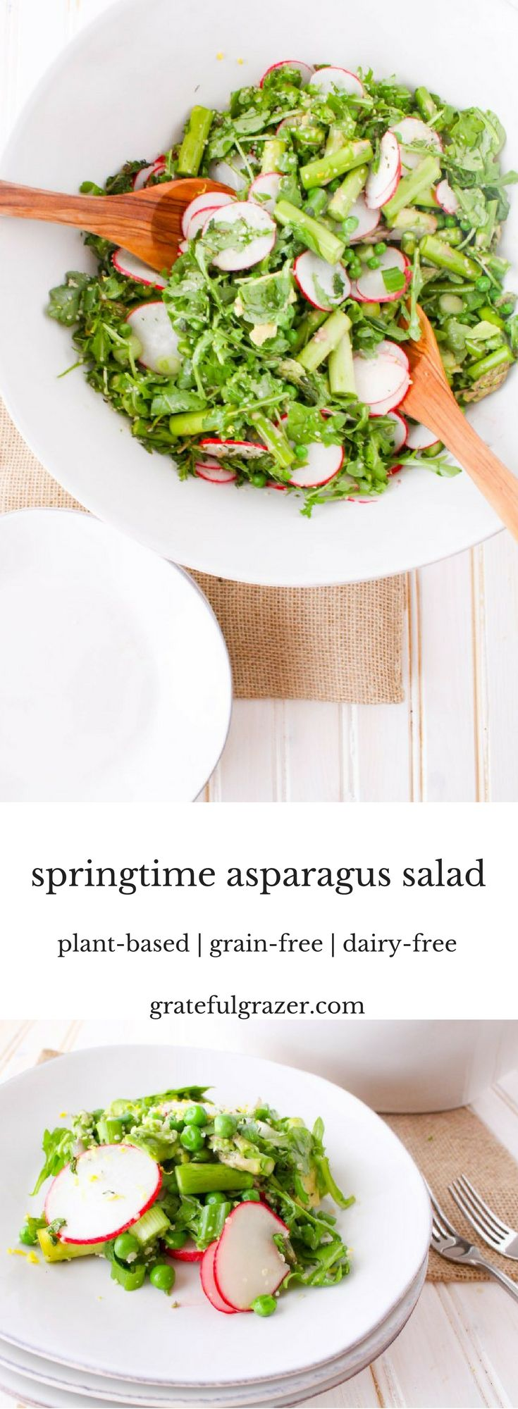 Celebrate spring with a light and refreshing springtime asparagus salad with lemon hemp seed dressing.  This plant-based side salad is also grain-free and dairy-free. via @gratefulgrazer