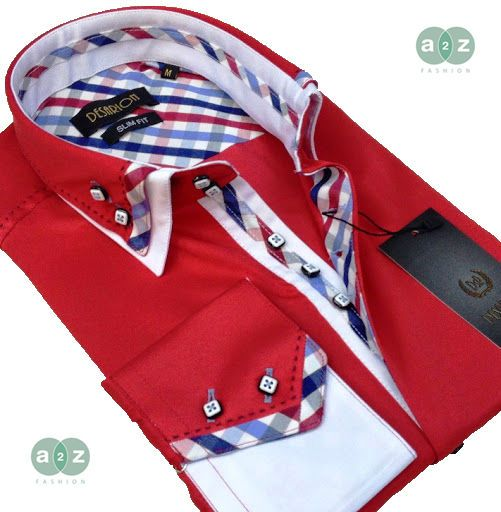 Brand New Men's Formal, Smart, Red with White Double Collar Casual Italian Design Slim Fit Shirt, with Contrast White, Navy Blue, Red, Grey and Baby Blue Checks - NEW DESIGN