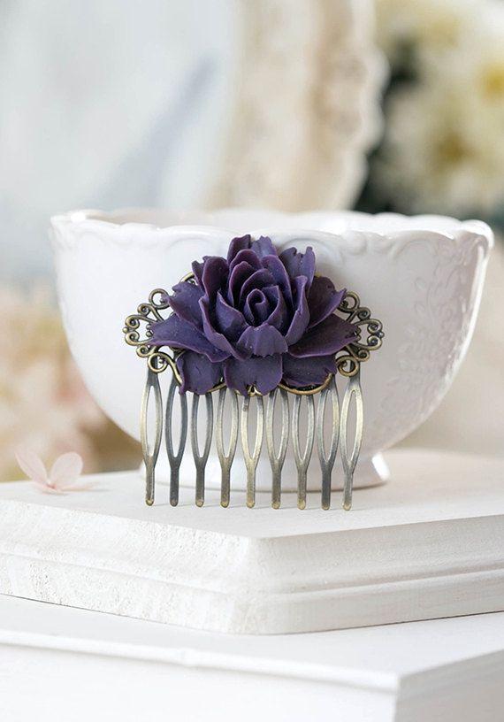 Purple Rose Flower Bridal Hair Comb Antique Brass by LeChaim