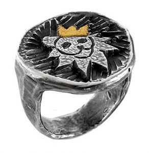 Lion ring in sterling silver and gold leaf - $320
