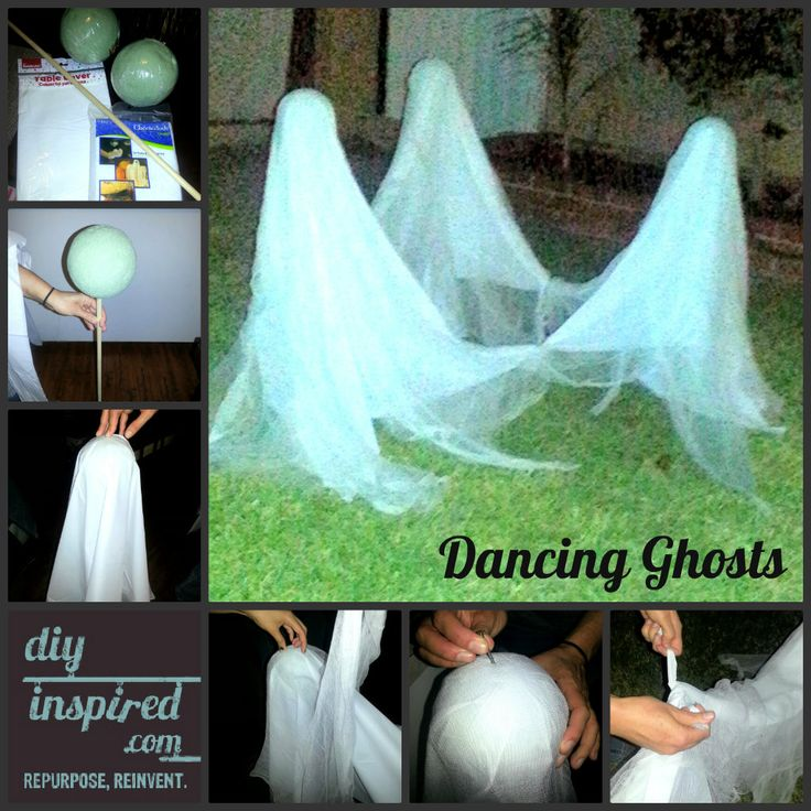 theres still time left to make these dancing ghosts - Homemade Halloween Yard Decorations