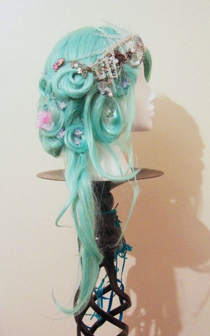 SALE Icicle Queen Wig in Aqua Blue Green with by GhouliaPeculiar, £125.00