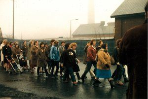 Silverwood striking miners wives and families march to the picket line in the miners' strike