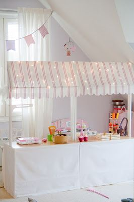 DIY Play Shop for kids room - use red and cream striped fabric