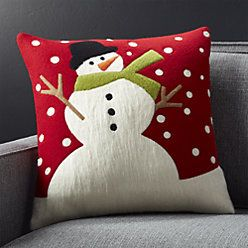 "Snow Day 18"" Holiday Snowman Pillow with Feather-Down Insert"