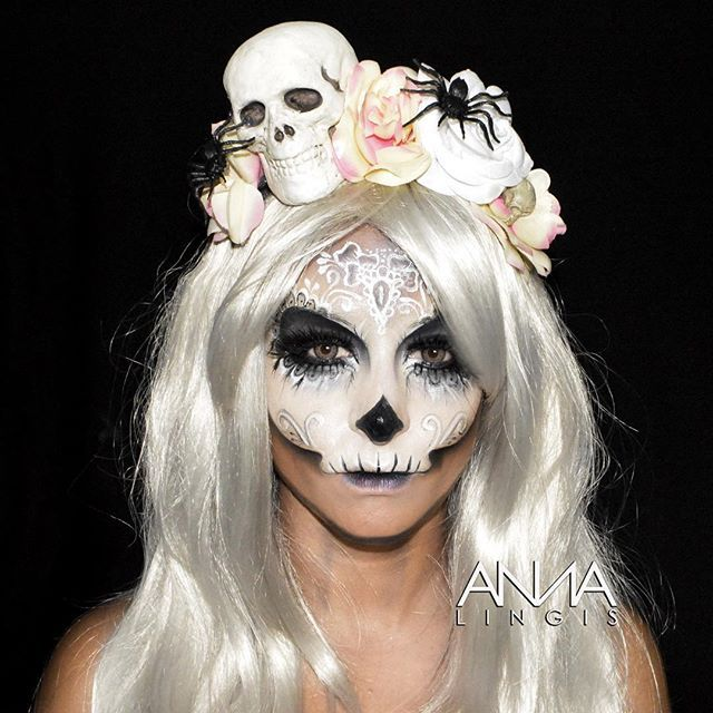 My latest sugar skull makeup.... Thought I would try something a little different, hope you all like it emoji Product breakdown: emoji️@nyxukcosmetics jumbo pencil in milk and @illamasqua skinbase foundation to create the skull base emoji️@nyxukcosmetics stormy skies palette for the purple brown and black shading & the lips emoji️@GlobalColours Body Art face paints in white & strong black from @thefacepaintingshop emoji️Top lashes @eldorafalseeyelashes in C188 emoji️Bottom lashes @hudabeauty…